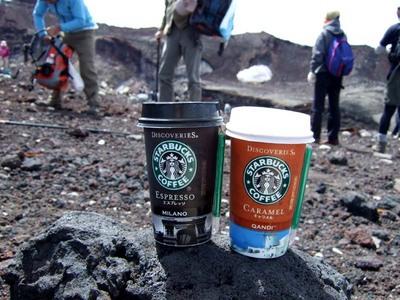 スタバ 富士登山 山頂 富士山